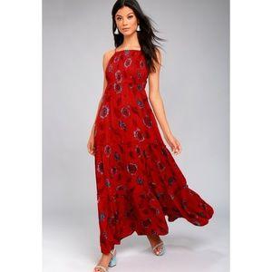 Free People red maxi dress M